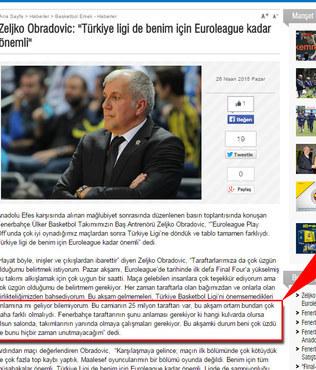 F.Bah�e resmi siteden Obradovic'e sans�r