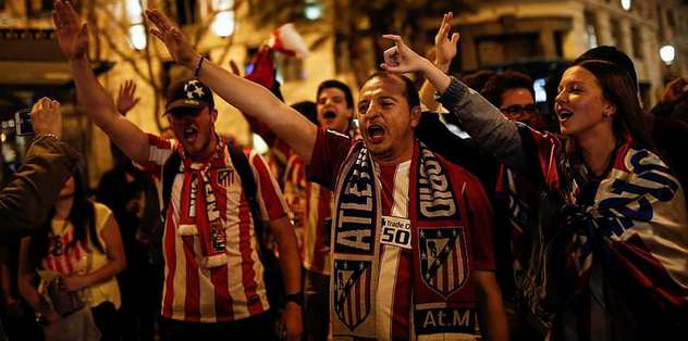 Atletico Madrid taraftar�n�n final sevinci