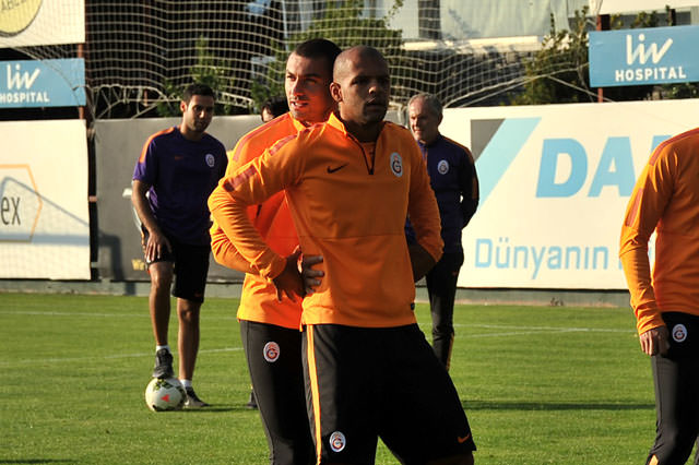 Galatasaray antrenman�nda ne�eli anlar